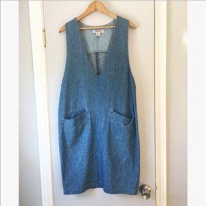 Vintage denim deep V mini dress